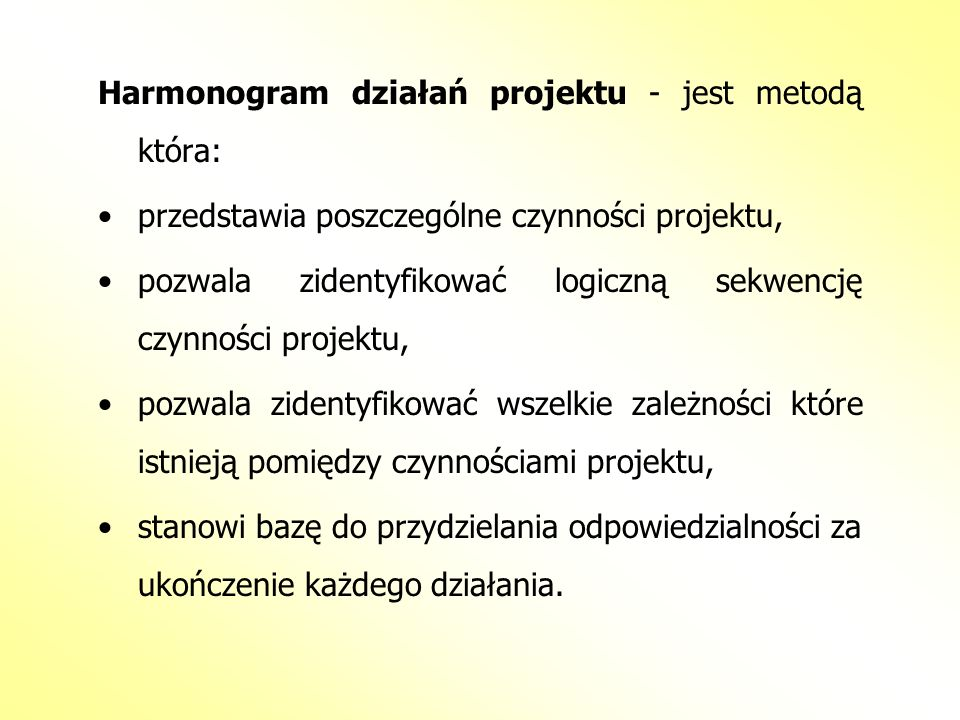 Harmonogram działań projektu - jest metodą która: