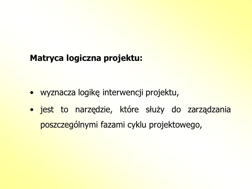 Matryca logiczna projektu: