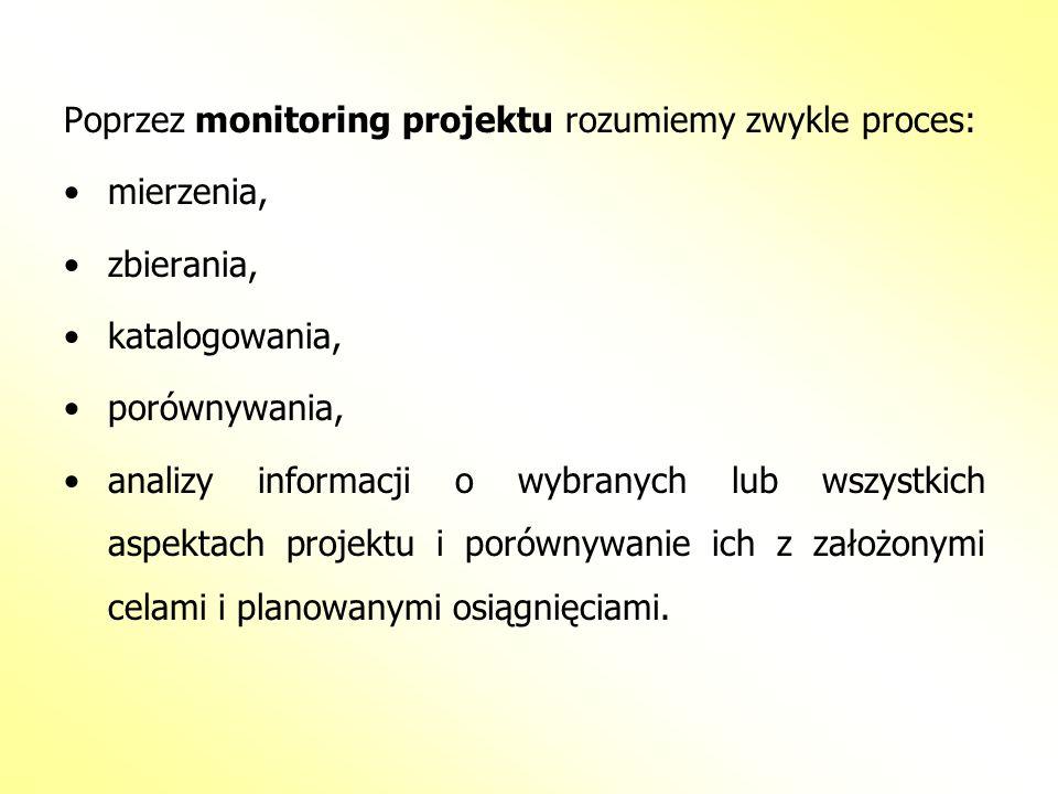 Poprzez monitoring projektu rozumiemy zwykle proces: