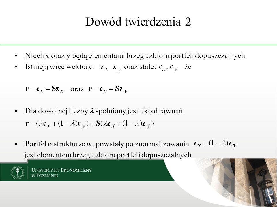Dowód twierdzenia 2 Niech x oraz y będą elementami brzegu zbioru portfeli dopuszczalnych.