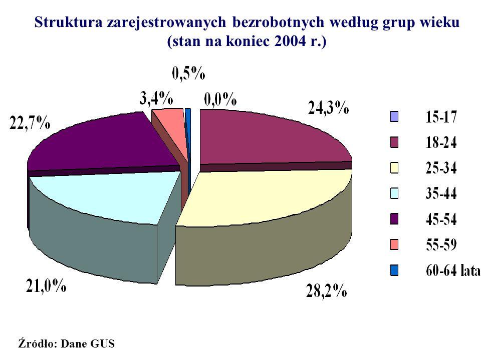 Struktura zarejestrowanych bezrobotnych według grup wieku (stan na koniec 2004 r.)