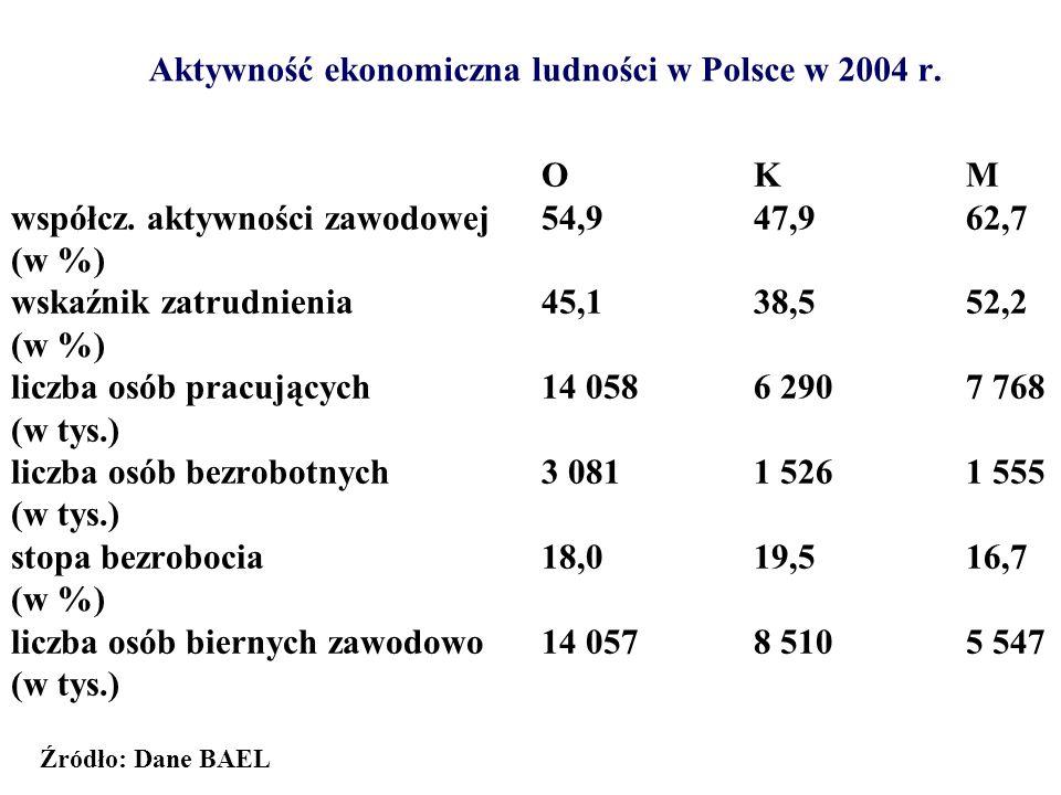 Aktywność ekonomiczna ludności w Polsce w 2004 r.