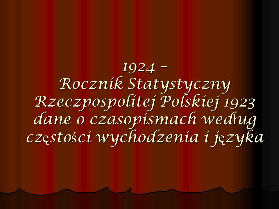 1924 – Rocznik Statystyczny Rzeczpospolitej Polskiej 1923 dane o czasopismach według częstości wychodzenia i języka