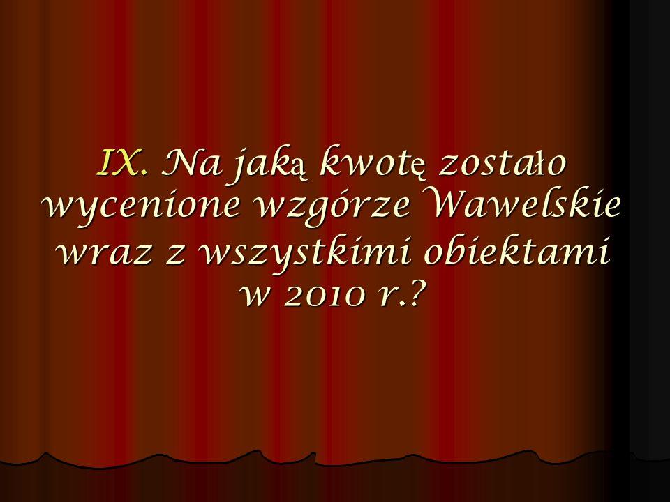IX. Na jaką kwotę zostało wycenione wzgórze Wawelskie wraz z wszystkimi obiektami w 2010 r.