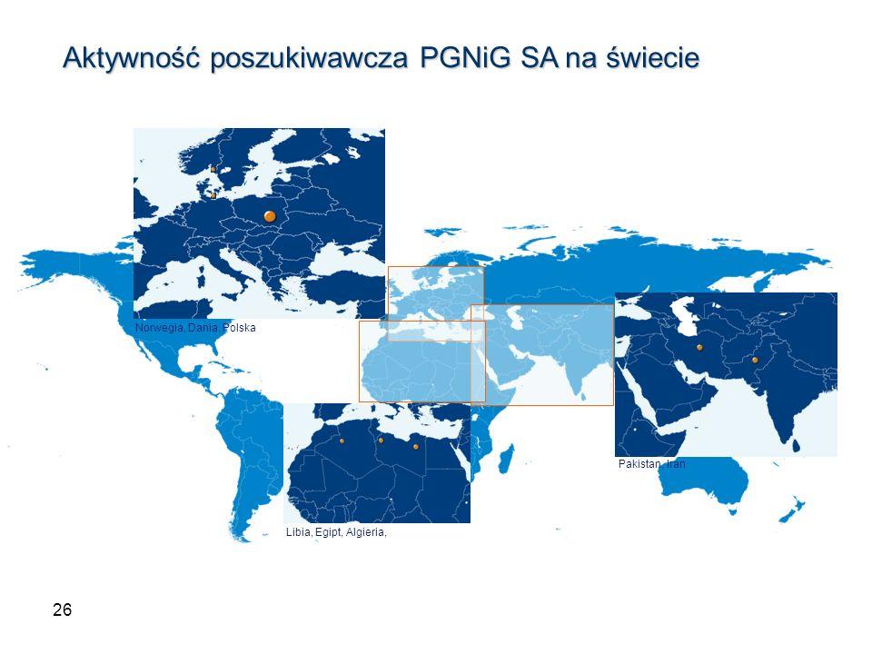 Aktywność poszukiwawcza PGNiG SA na świecie