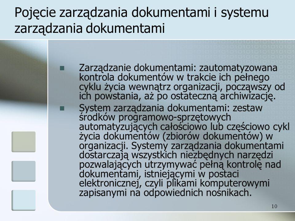 Pojęcie zarządzania dokumentami i systemu zarządzania dokumentami