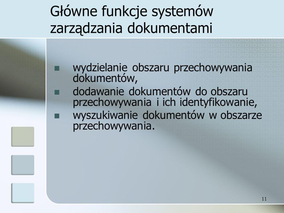 Główne funkcje systemów zarządzania dokumentami