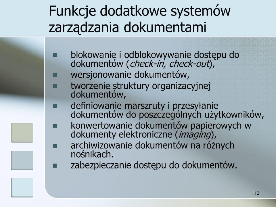 Funkcje dodatkowe systemów zarządzania dokumentami