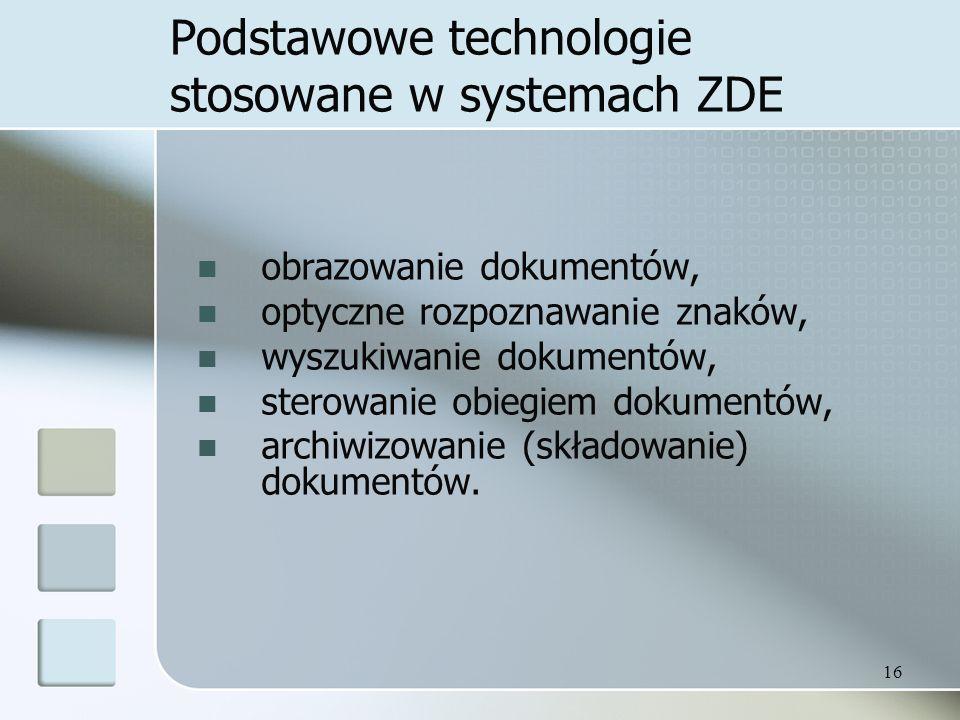 Podstawowe technologie stosowane w systemach ZDE