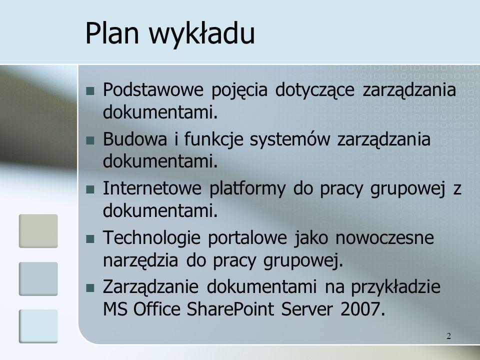 Plan wykładu Podstawowe pojęcia dotyczące zarządzania dokumentami.