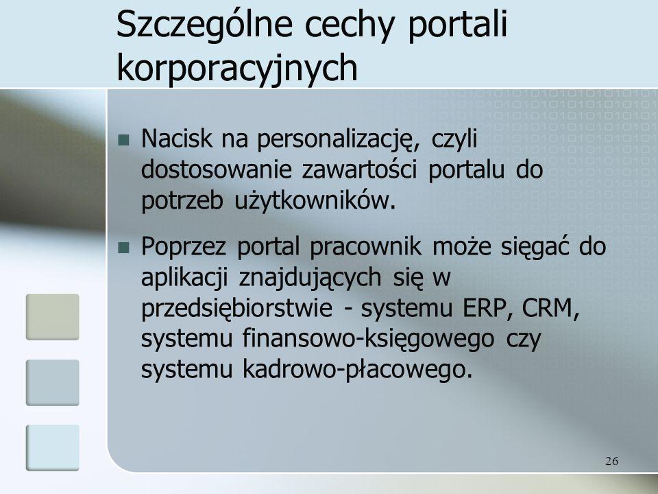 Szczególne cechy portali korporacyjnych