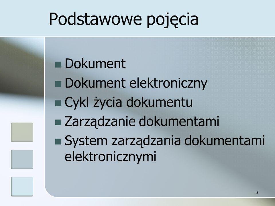 Podstawowe pojęcia Dokument Dokument elektroniczny