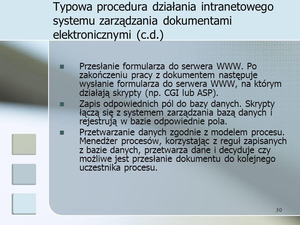 Typowa procedura działania intranetowego systemu zarządzania dokumentami elektronicznymi (c.d.)