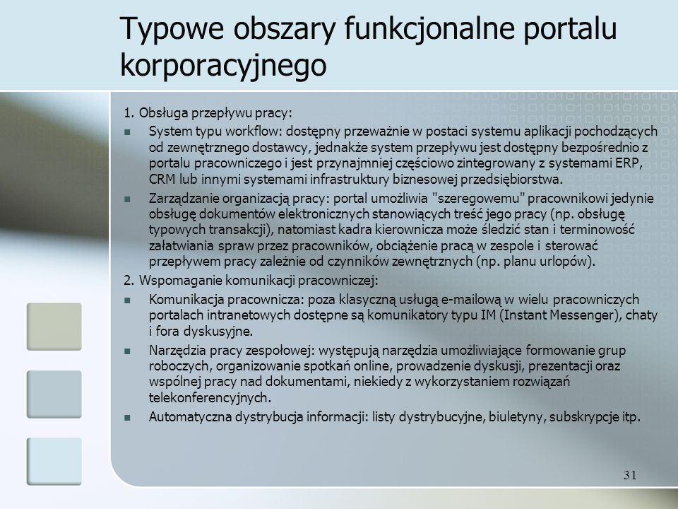 Typowe obszary funkcjonalne portalu korporacyjnego