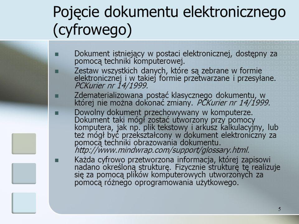 Pojęcie dokumentu elektronicznego (cyfrowego)