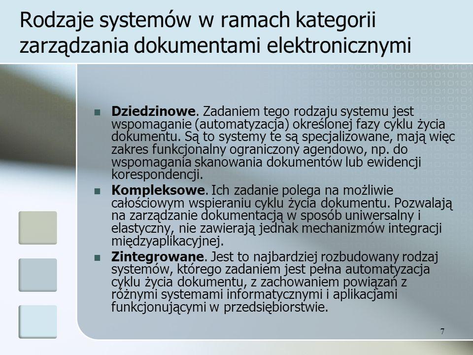 Rodzaje systemów w ramach kategorii zarządzania dokumentami elektronicznymi