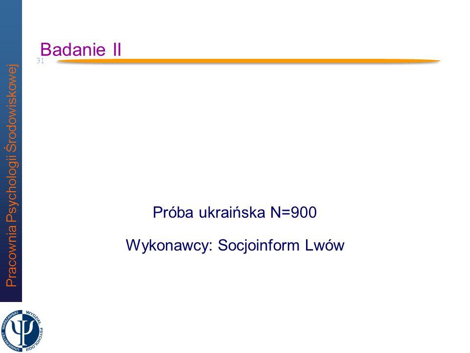 Próba ukraińska N=900 Wykonawcy: Socjoinform Lwów