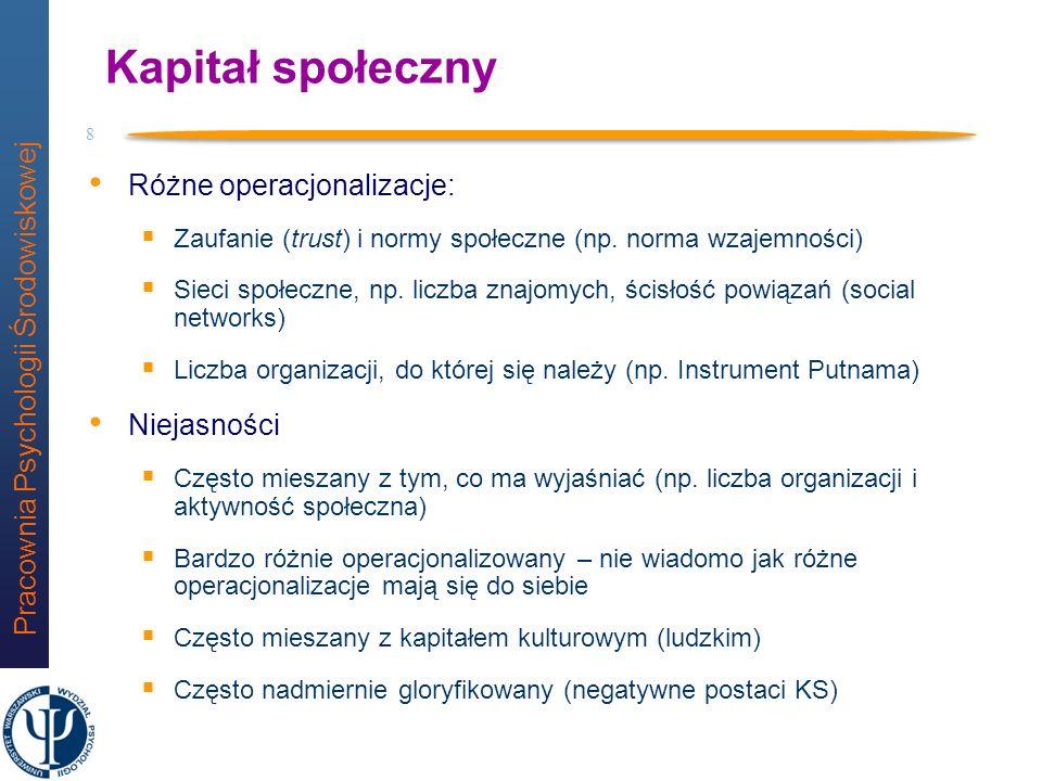 Kapitał społeczny Różne operacjonalizacje: Niejasności