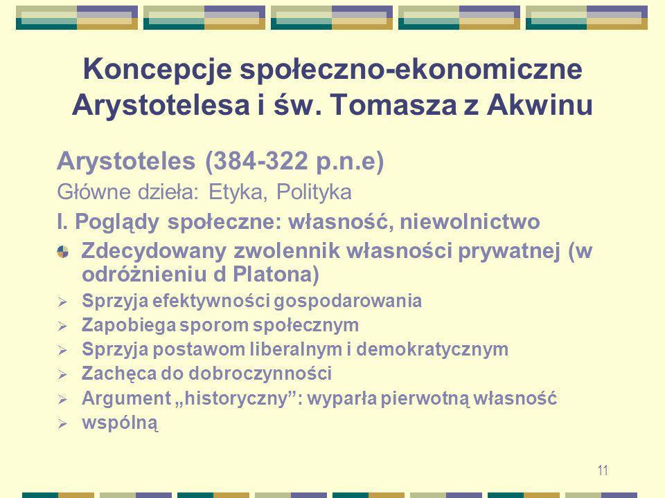 Koncepcje społeczno-ekonomiczne Arystotelesa i św. Tomasza z Akwinu