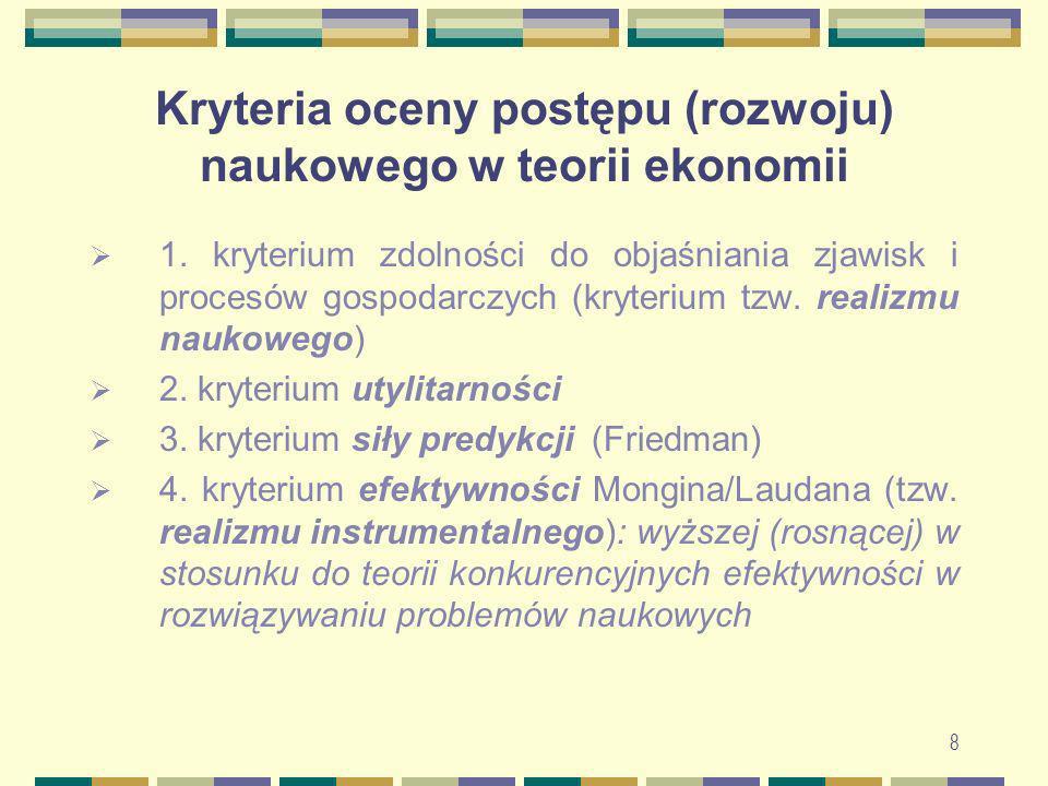Kryteria oceny postępu (rozwoju) naukowego w teorii ekonomii