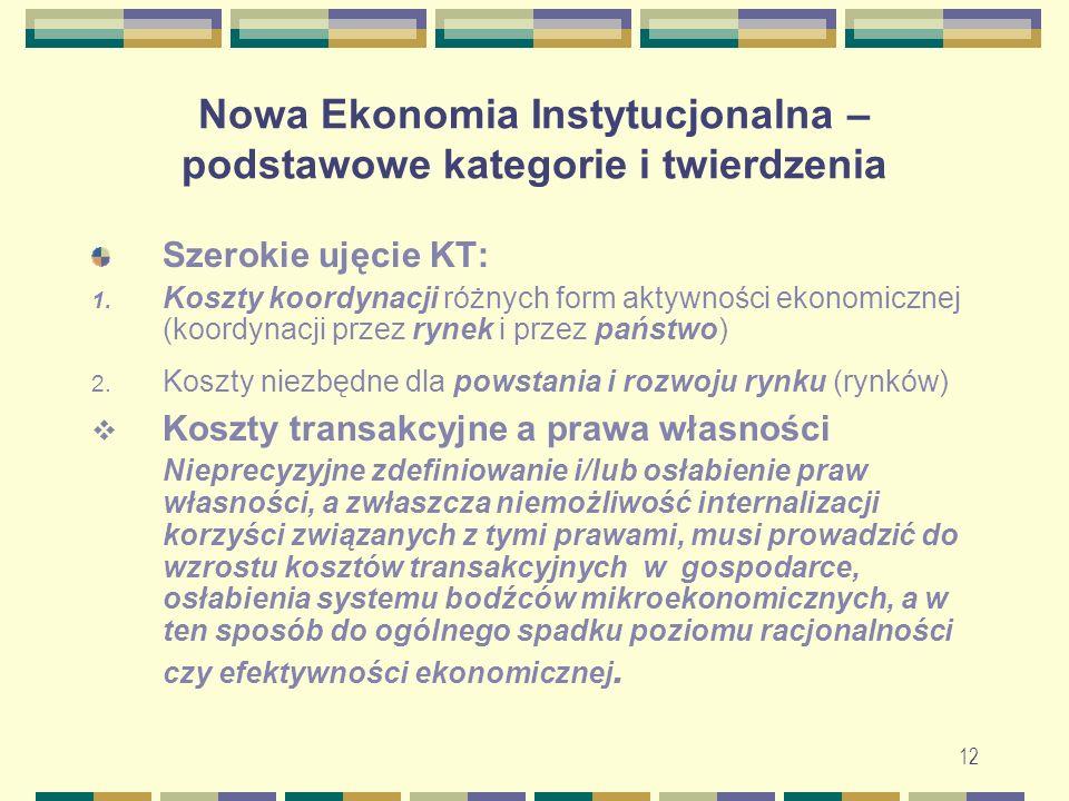 Nowa Ekonomia Instytucjonalna – podstawowe kategorie i twierdzenia