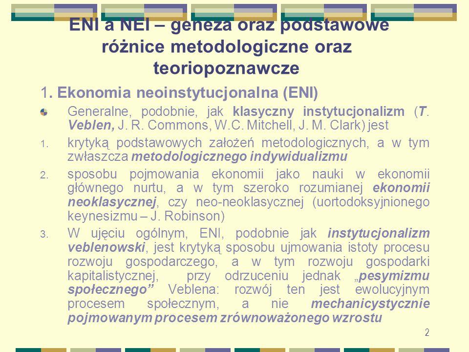 ENI a NEI – geneza oraz podstawowe różnice metodologiczne oraz teoriopoznawcze