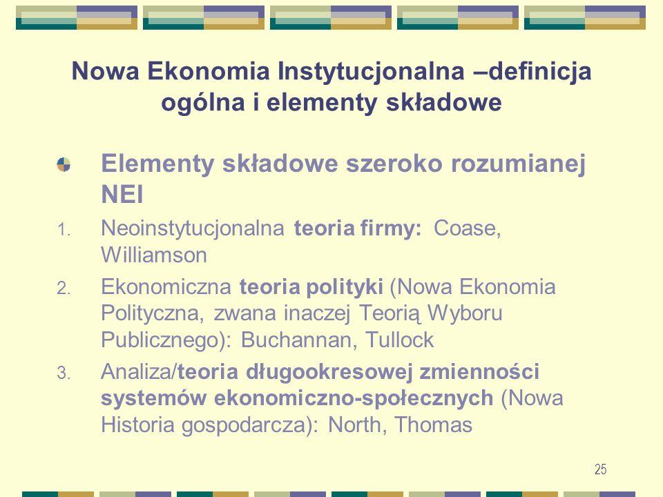 Nowa Ekonomia Instytucjonalna –definicja ogólna i elementy składowe