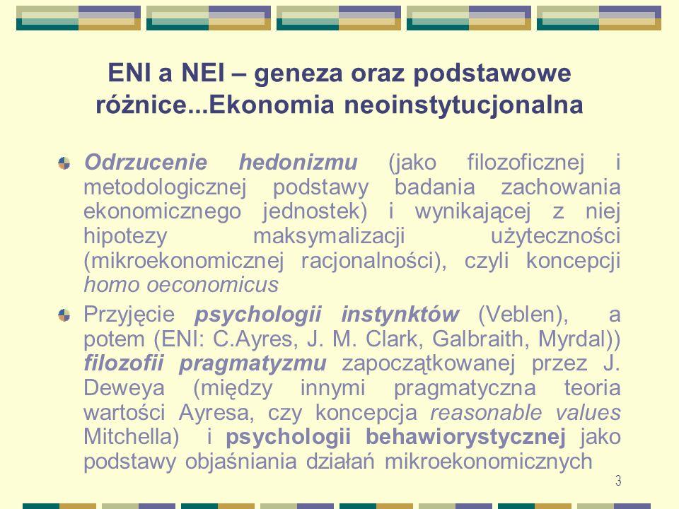 ENI a NEI – geneza oraz podstawowe różnice...Ekonomia neoinstytucjonalna