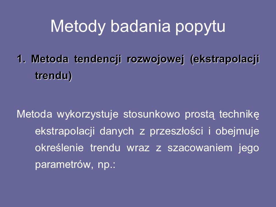 Metody badania popytu 1. Metoda tendencji rozwojowej (ekstrapolacji trendu)
