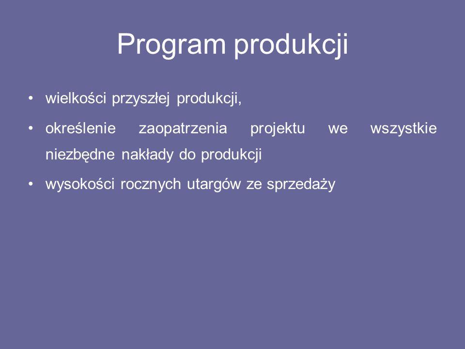 Program produkcji wielkości przyszłej produkcji,