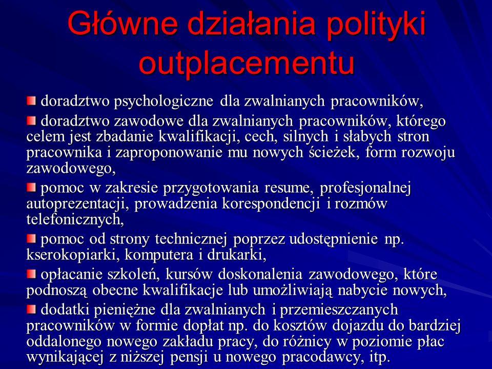 Główne działania polityki outplacementu