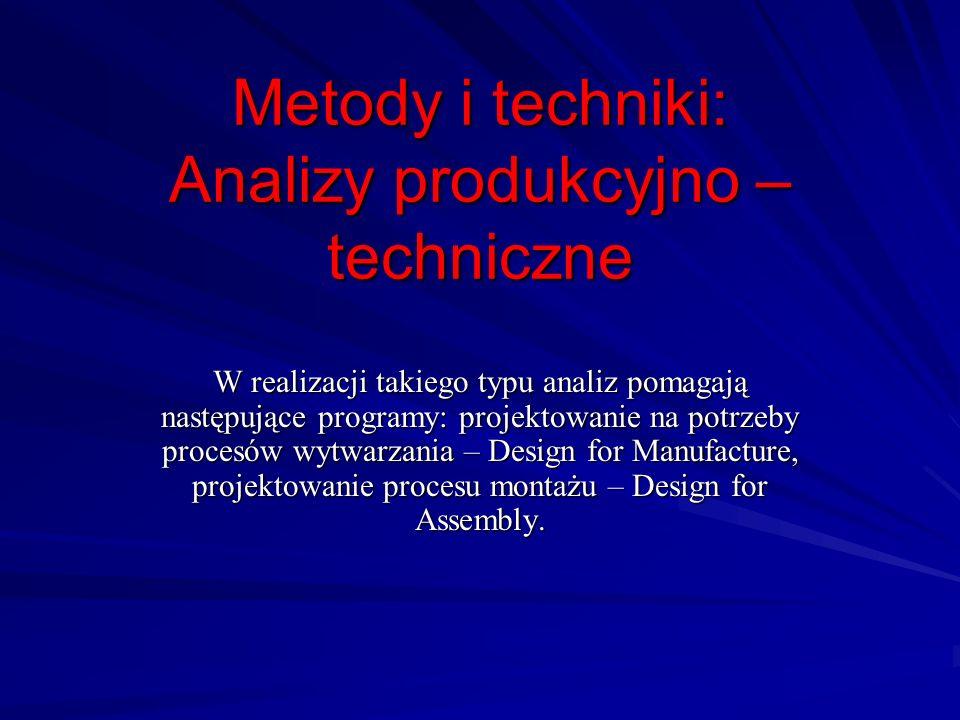 Metody i techniki: Analizy produkcyjno – techniczne