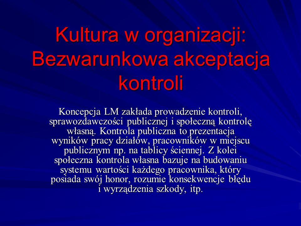 Kultura w organizacji: Bezwarunkowa akceptacja kontroli