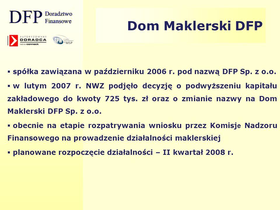Dom Maklerski DFP spółka zawiązana w październiku 2006 r. pod nazwą DFP Sp. z o.o.