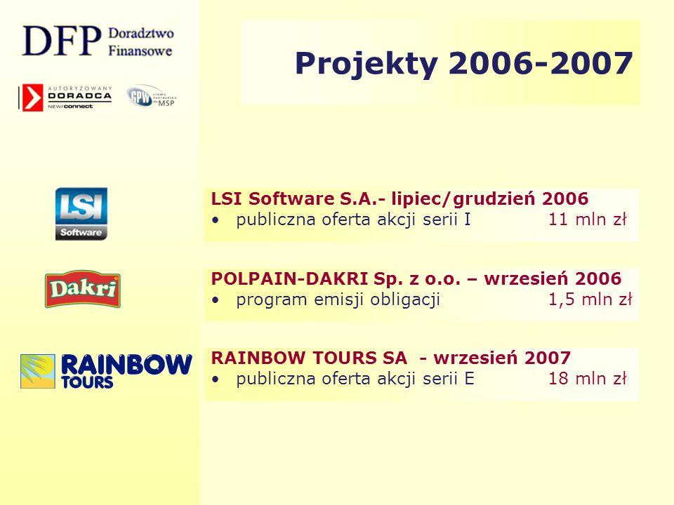 Projekty 2006-2007 LSI Software S.A.- lipiec/grudzień 2006