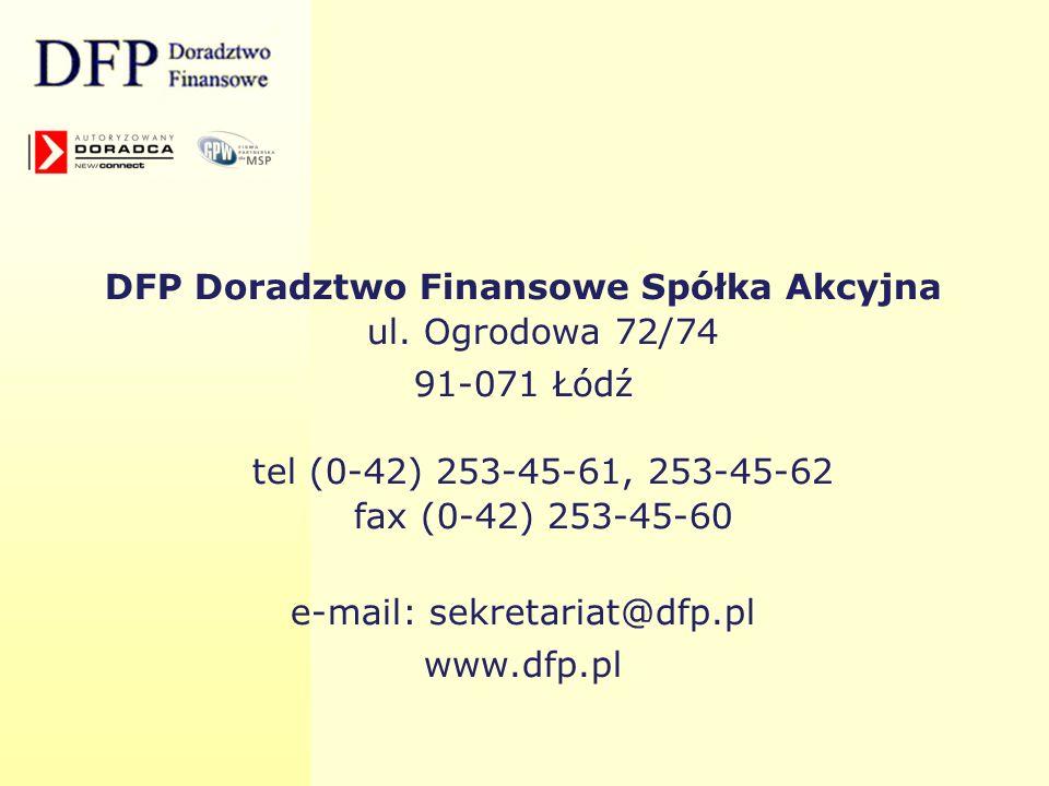 DFP Doradztwo Finansowe Spółka Akcyjna ul. Ogrodowa 72/74
