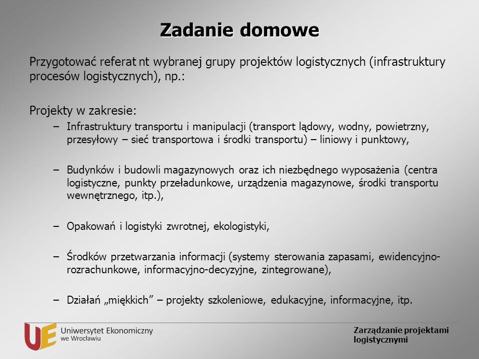 Zadanie domowe Przygotować referat nt wybranej grupy projektów logistycznych (infrastruktury procesów logistycznych), np.: