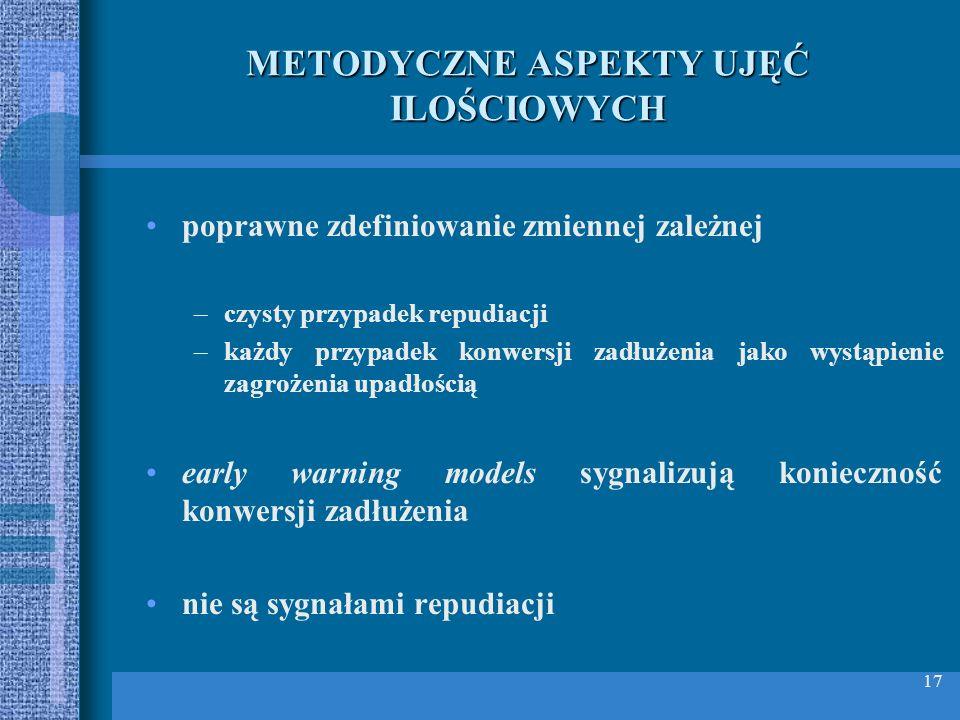 METODYCZNE ASPEKTY UJĘĆ ILOŚCIOWYCH