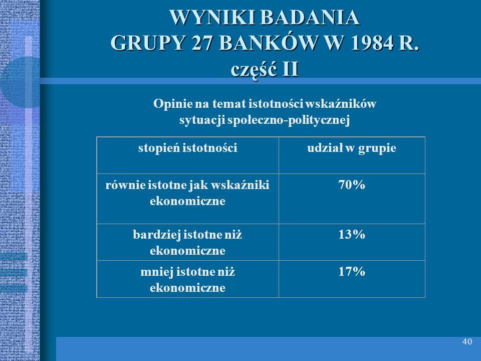 WYNIKI BADANIA GRUPY 27 BANKÓW W 1984 R. część II