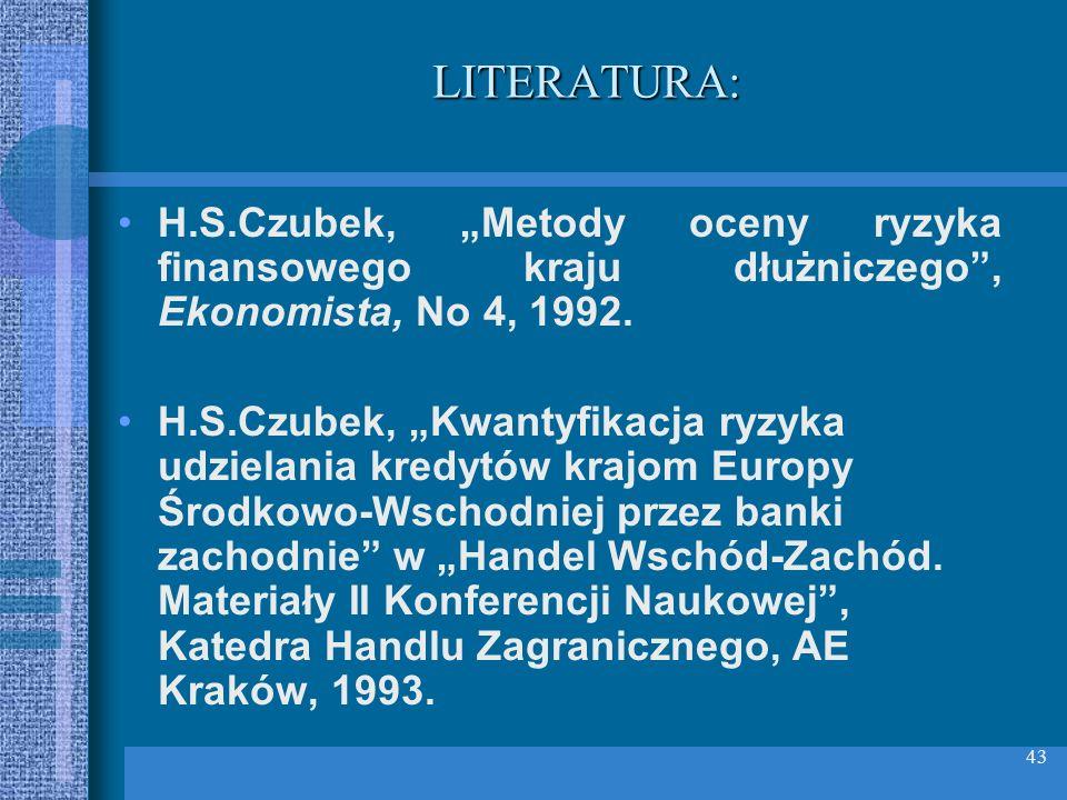 """LITERATURA: H.S.Czubek, """"Metody oceny ryzyka finansowego kraju dłużniczego , Ekonomista, No 4, 1992."""