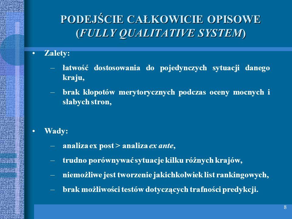 PODEJŚCIE CAŁKOWICIE OPISOWE (FULLY QUALITATIVE SYSTEM)