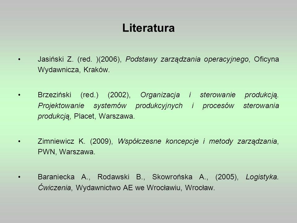 Literatura Jasiński Z. (red. )(2006), Podstawy zarządzania operacyjnego, Oficyna Wydawnicza, Kraków.