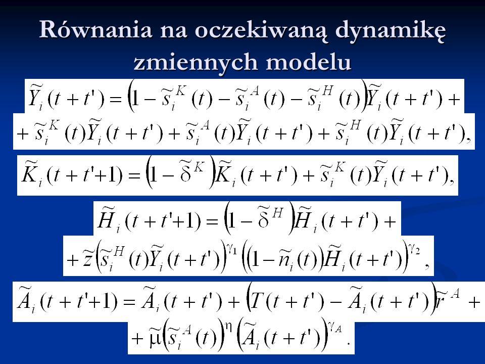 Równania na oczekiwaną dynamikę zmiennych modelu