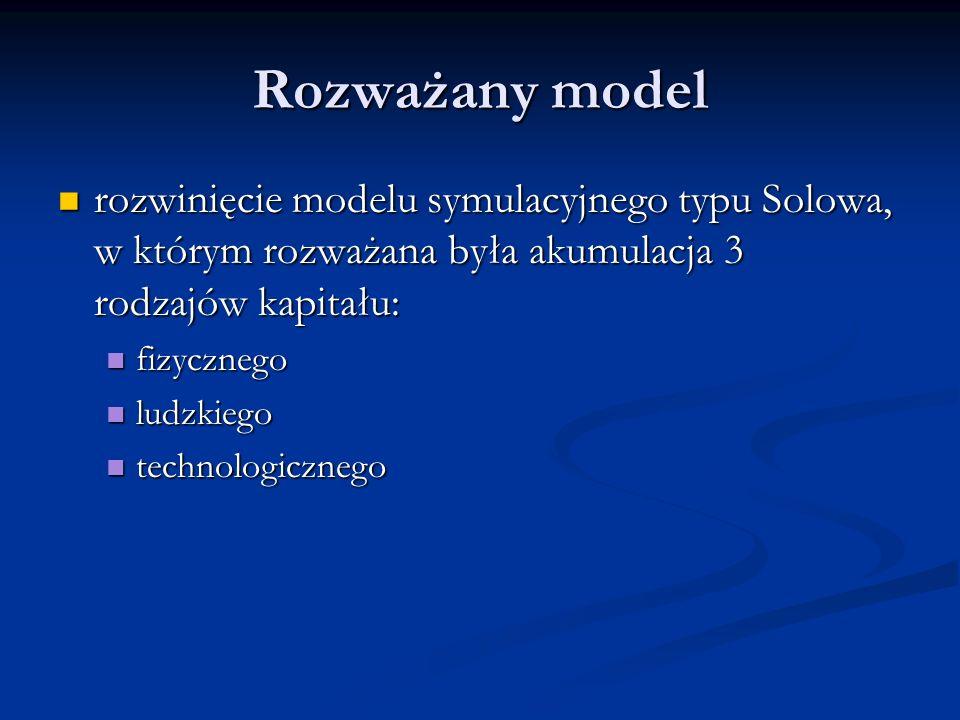 Rozważany model rozwinięcie modelu symulacyjnego typu Solowa, w którym rozważana była akumulacja 3 rodzajów kapitału: