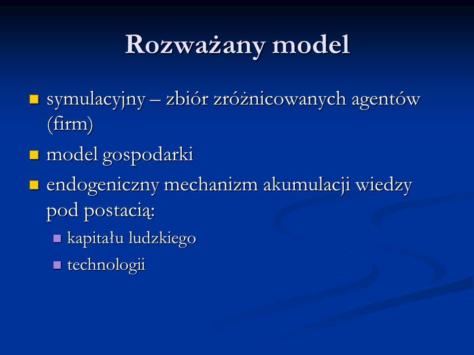 Rozważany model symulacyjny – zbiór zróżnicowanych agentów (firm)