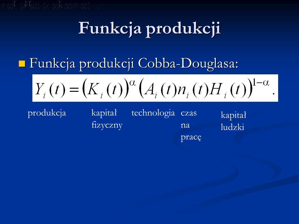 Funkcja produkcji Funkcja produkcji Cobba-Douglasa: produkcja