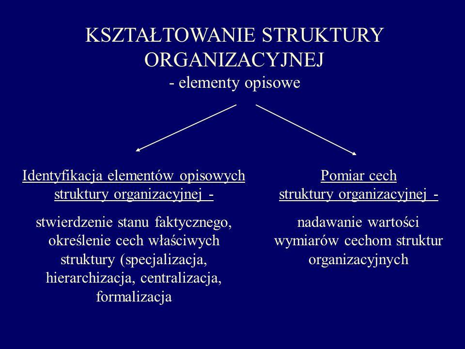 KSZTAŁTOWANIE STRUKTURY ORGANIZACYJNEJ - elementy opisowe