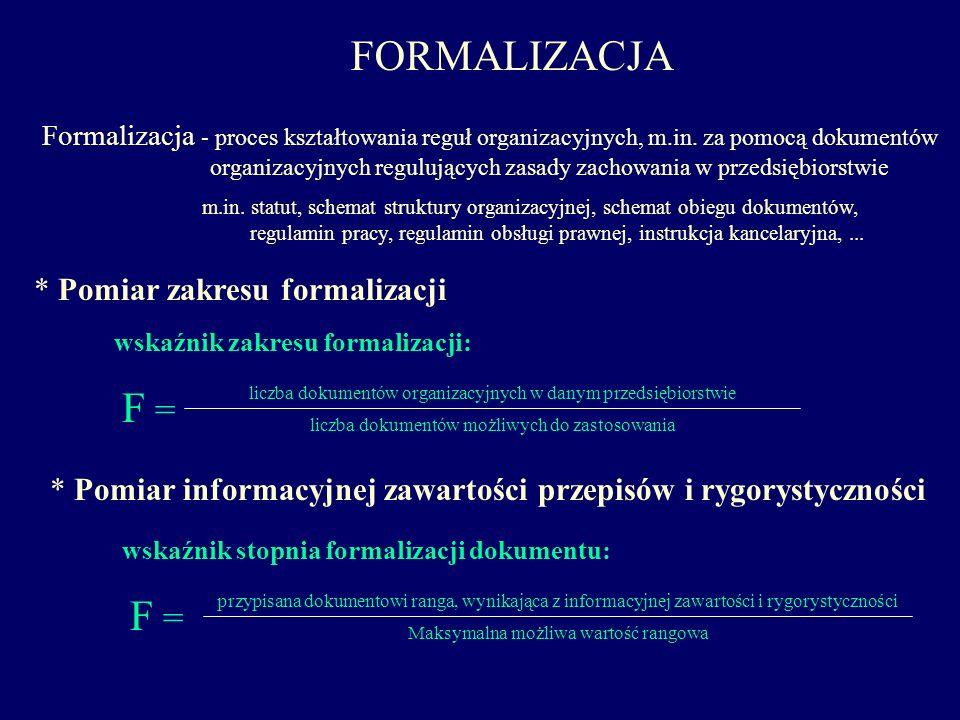 FORMALIZACJA F = F = * Pomiar zakresu formalizacji