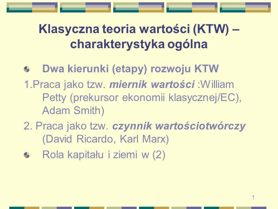 Klasyczna teoria wartości (KTW) – charakterystyka ogólna