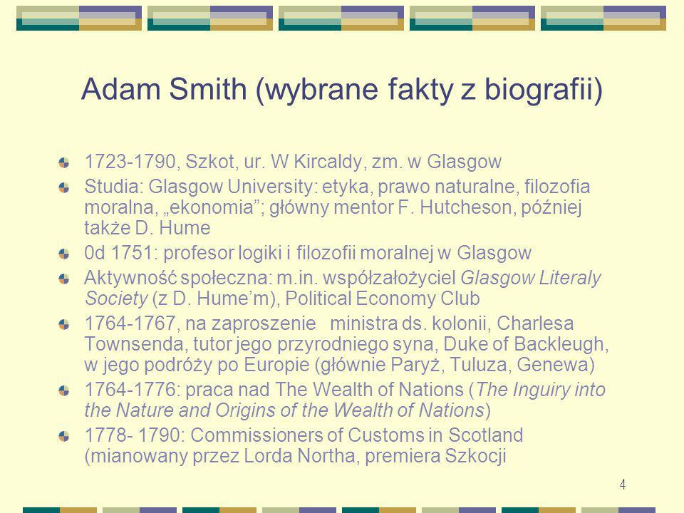 Adam Smith (wybrane fakty z biografii)